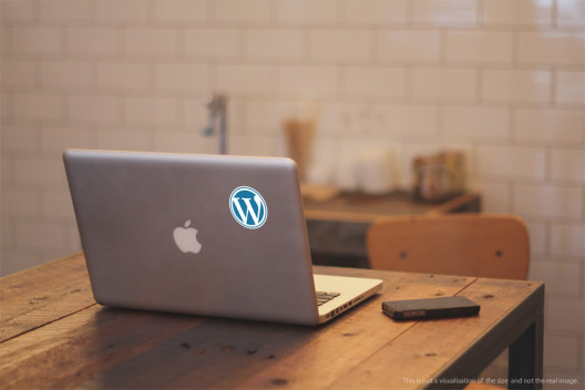Wordpress Circular Shaped Sticker Macbook Preview