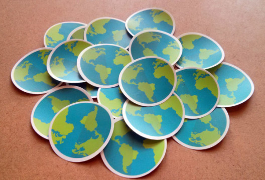 Green Earth Stickers Perspective Angle