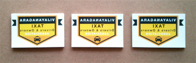Vijayanagara Taxi Association Stickers Stacked