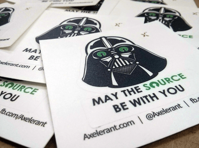 A close up of the Open Source Darth Vader Stickers