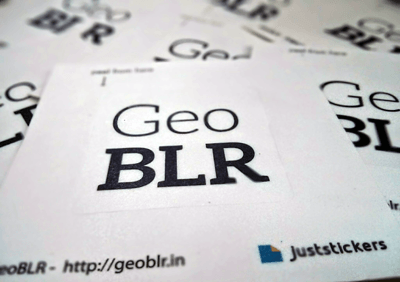 Close up view of GeoBLR Stickers