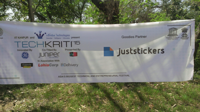 Juststickers.in banner in one of the campus locations.