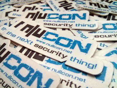 Nullcon stickers fresh after production.