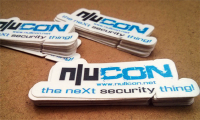 Stacks of Nullcon stickers