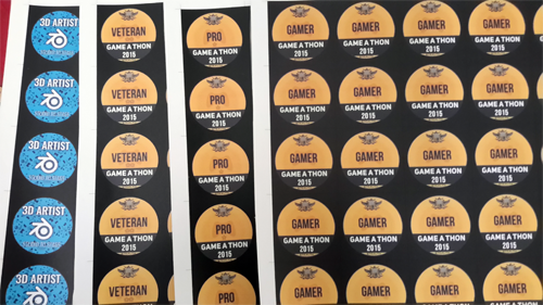 Special badge stickers for VIT Game-a-thon 2015
