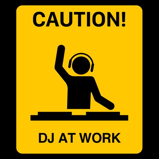 DJ At Work Sticker - Just Stickers